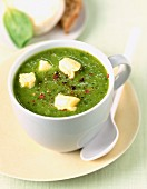 Zucchini soup with goat's cheese