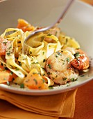 Tagliatelles with scallpos and pumpkin