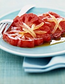 Grilled tomato with ginger and honey