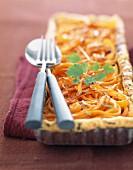 Rechteckige Karotten-Ingwer-Tarte