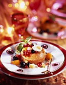 Christmas rum Baba with fresh fruit