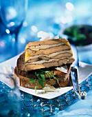 Marbled foie gras and Parmesan terrine