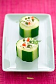 Pieces of cucumber stuffed with fromage frais