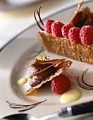 nougatine with chocolate mousse and raspberries