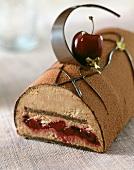 chocolate and cherry log