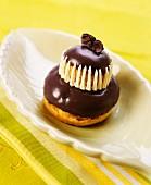 Religieuse chocolate and violet cream puff cake