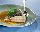 Roast turbot with meat gravy