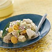 Tuna salad dressed with oil