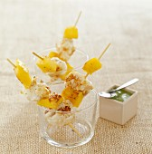 Monkfish and mango brochettes with avocado dip