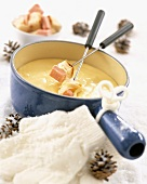 Cheese and ham fondue