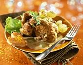 Stuffed quail with foie gras sauce
