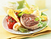 Tournedos with new vegetables