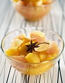 hot citrus fruit and rum salad
