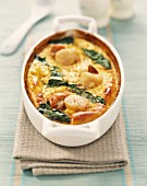 Scallop and spinach Clafoutis batter pudding