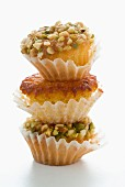 stacked pistachio and hazelnut muffins