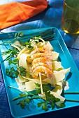Dublin Bay prawn skewers with herb sauce