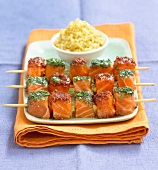 marinated salmon skewers