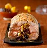roast salmon stuffed with prunes and apricots
