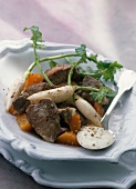 Sauteed lamb with crunchy vegetables and Saint-Felicien cheese sauce