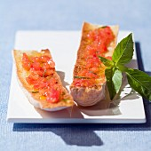 Tomato and garlic on toast