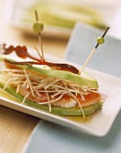 Avocado, gambas and celery sandwich