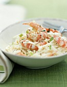 White cabbage, apple and gambas salad