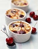 Mini clafoutis cherry batter pudding