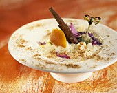 Rice pudding with cinnamon and passion flower