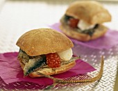 sardine, tomato and mozzarella sandwich
