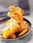 Mango pancake parcels with lime
