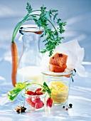 Stillleben mit Zutaten für eine gesunde Diät