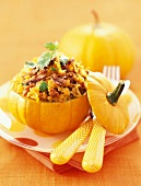 baby pumpkin stuffed with duck confit