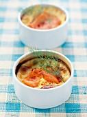 Smoked salmon clafoutis with dill