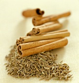 Sticks of cinnamon and caraway seeds (topic: light suppers)
