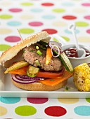 Veal and grilled vegetable hamburger