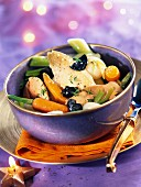 Christmas foie gras and vegetable stew
