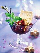 chilled nougatine parfait with vanilla-flavored morello cherries