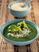 creamed pea soup with lettuce