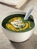 Creamed Broccoli and Almond soup with saffron