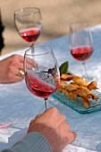 Tasting rosé wine
