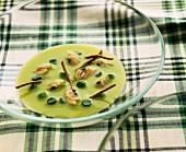 zucchini cream with seafood