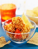 chicken croquettes with tomatoes and chips