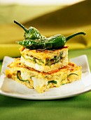 Potato, cod and green pepper omelette
