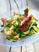 Mullet and courgette ribbon salad