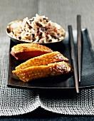 Mit Limoncello glasierte Entenbrust, dazu Reis