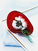 Beetroot cone with caviar