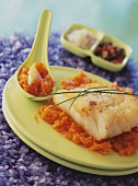 Fillet of cod with spicy pumpkin chutney