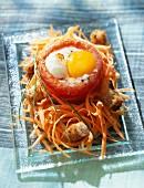 Coddled egg in tomato