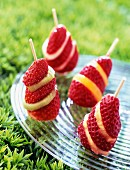 Strawberry and dried fruit kebabs
