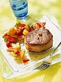 Hawaiian-style beef tournedos